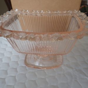 Anchor Hocking Lace Edge Pink Open Compote Candy D